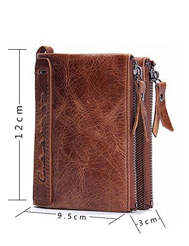 Lareinea Men Genuine Leather Cowhide Zip Wallet Vintage Bifold with Double Zipper Pockets (Brown) by Lareinae (Image #4)