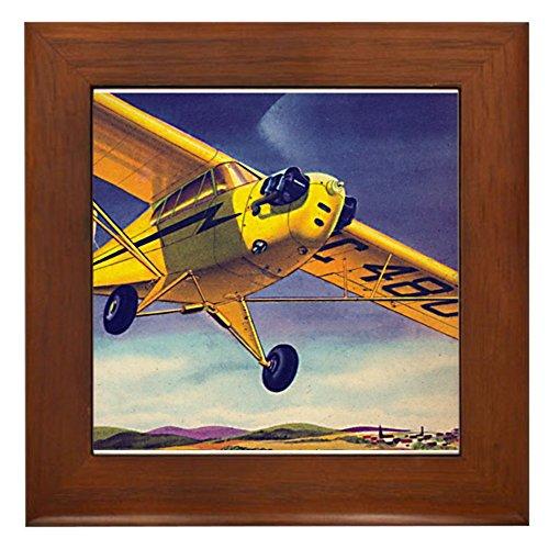 Cub Flying Piper - CafePress - Piper Cub In Flight Framed Tile - Framed Tile, Decorative Tile Wall Hanging
