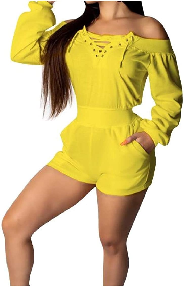 Coolred-Women Pure Pockets Long-Sleeve Lace-up Shorts Romper Playsuit