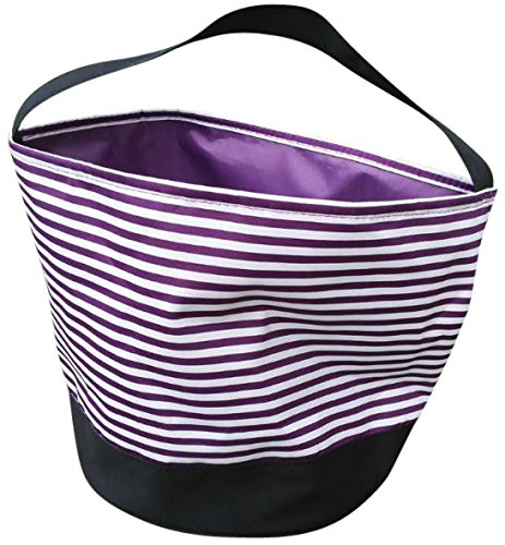 Jolly Jon Halloween Candy Bags Bucket Basket - Trick Or Treat Goody Bag - Reusable Durable Handled Canvas Material - Purple & White Striped Design - by (Purple (Halloween Treat Pails)