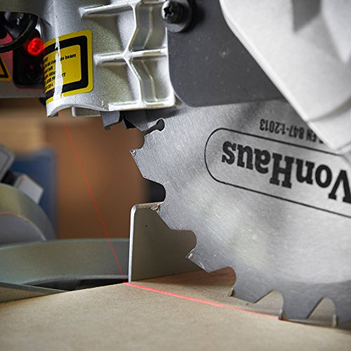 VonHaus Sliding Mitre Saw 1500W 8' (210mm) - Sliding Side Support Bars for Wide Work Pieces - Powerful Performance with +45°/-45° Mitre Cuts - Easily Cuts Through Woods & Plastics with Laser Guide