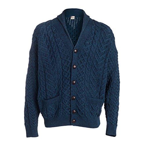 Blue Wool Cardigan - Boyne Valley Knitwear Patchwork Shawl Collar Cardigan (Atlantic Blue, Large)