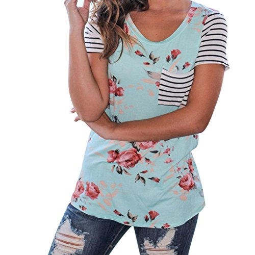 YANG-YI Women Stripe Short Sleeve Flower Printed T-Shirt Polyester Blouse Casual Tops (L, Blue) (Stripe Studio Red)