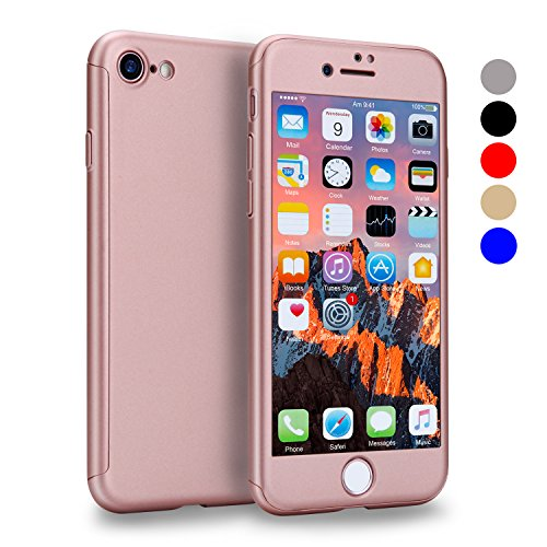 VANSIN iPhone 7 Case, 360 Full Body Protection Hard Slim Case Coated Non Slip Matte Surface with Tempered Glass Screen Protector for Apple iPhone 7 Only (4.7-inch) - (Rose Gold)