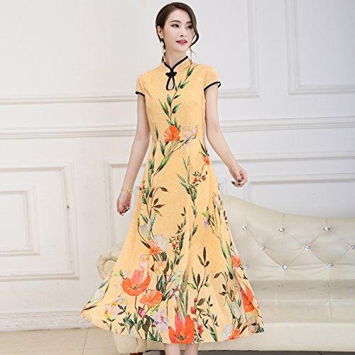 XIU*RONG Imprimir Vestir Mujer Nieve Verano Hilados Falda Falda Péndulo Grande Edad Media Falda Madre orange