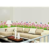Syga 'Pink Border Flowers Design' Wall Sticker (PVC Vinyl, 61 cm x 5 cm x 5 cm)