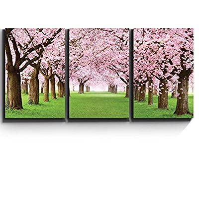 Print Contemporary Art Wall Decor Beautiful Cherry Blossom Trees Artwork Wood Stretcher Bars x3 Panels, Created Just For You, Unbelievable Portrait