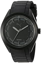 PUMA Quartz Stainless Steel and Polyurethane Automatic Watch, Color:Black (Model: PU103321006)