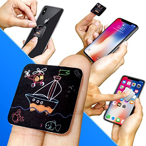 Clean Screen Wizard Microfiber Cell Phone Cleaner Sticker, Cleaning Pad Screen Cleaner for iPhone, Samsung, Small Electronic Devices, Tech Gadgets, Stocking Stuffers Gift Ideas, Multicolor