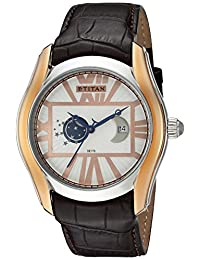 Titan Men's 'Celestial Time Moon Phase' Quartz Stainless Steel and Leather Automatic Watch, Color:Brown (Model: 1665KL01)