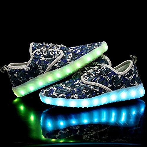 Qzmuse Arcobaleno Colore Misto Ha Portato Scarpe Bambini Scarpe Da Ballo Luminosi Lampeggianti Moda Sneaker Blu Camo