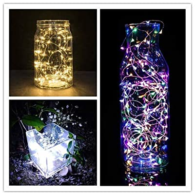 OutTop(TM) LED String Lights 1M with 10LED Waterproof Copper Wire Fairy Lights Battery Powered Lights String Warm White Home Decoration for Weddings Garden Patio Lamp (Cool White): Toys & Games