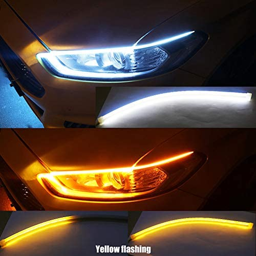 Flow BOODLIED 2X 24Inches Flexible Ultrathin Dual Color White//Amber LED Strip Lights automotive DIY Headlight kits Waterproof Paste Outside Inside Direct Replacement DRL Turn Signal Lights. 60cm