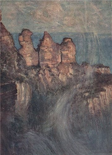 'The Blue Mountains - Three Sisters Peak' by Percy Spence. Australia - 1910 - old print - antique print - vintage print - Australia art prints