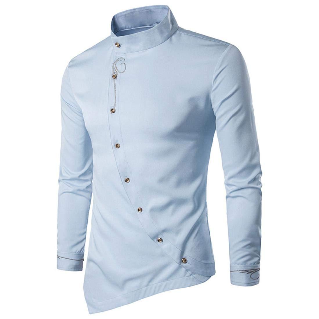 d5e3365c8ab6 KEERADS Herren Hemden Slim Fit Langarm Unregelm ä  ß ige R ä nder Asymmetrisch  Knopf Stehkragen Business Freizeithemd ...