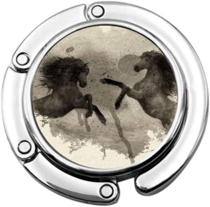 Impresión de Arte Acuarela Caballos Naturaleza Bolso Percha para niños Perchero para niñas Diseños únicos Sección Plegable Almacenamiento Almuerzo Bolsa Percha