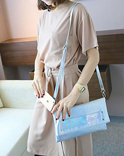 Editha Glitter Bag Holographic 61 Satchel Women Sling Bag body Silver Mini Drawstring Bag Cross UHqngrU1