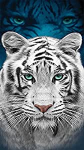 Amazon.com: Beach Towel, White Tiger with Blue Eyes, 30x60