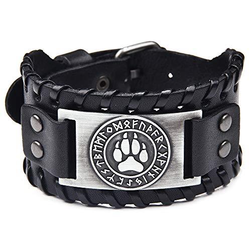 (AZORA Punk Leather Bracelet Handmade Cuff Bangle Wolf Paw Braided Wristband Adjustable Bracelets for Men,Boys,Women )