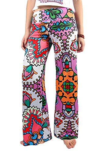 Niseng Mujeres Verano Impreso Palazzo Anchos Pierna Pantalones Moda Pantalones Anchos Estilo 1#