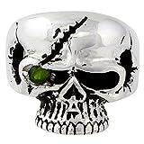 Scarface Bandit Skull Olive Green Cubic Zirconia One Eye