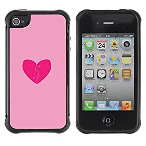 "Hypernova Defender Series TPU protection Cas Case Coque pour Apple iPhone 4 / iPhone 4S [Rosa del amor del corazón quebrado""]"