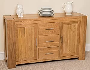 Kuba Solid Oak Large Sideboard/Cabinet, 140 x 42 x 82 cm: Amazon ...