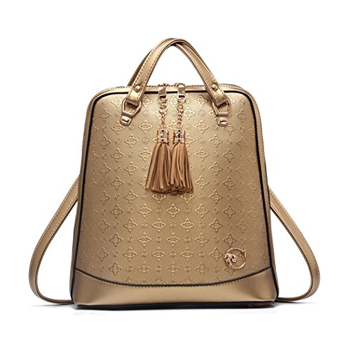 Womens Handbags Backpack Shoulder Bags Handbags Backpack School Bag Gold Leather Notebook Fekete