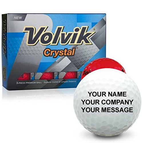 Personalized Crystal Golf Balls - Volvik Crystal Red Personalized Golf Balls