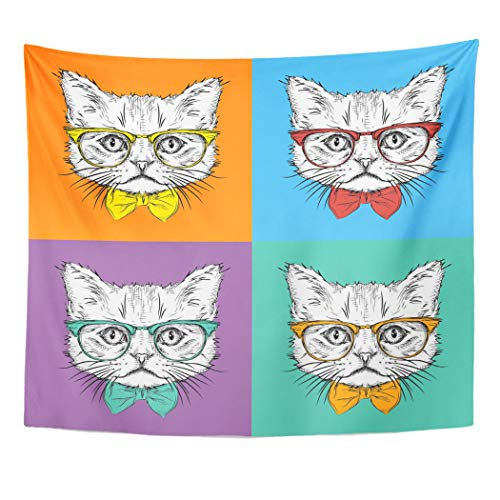 Emvency Tapestry Wall Hanging Red American Portrait of Cat in The Cravat Glasses Pop Style Animal Barking 50