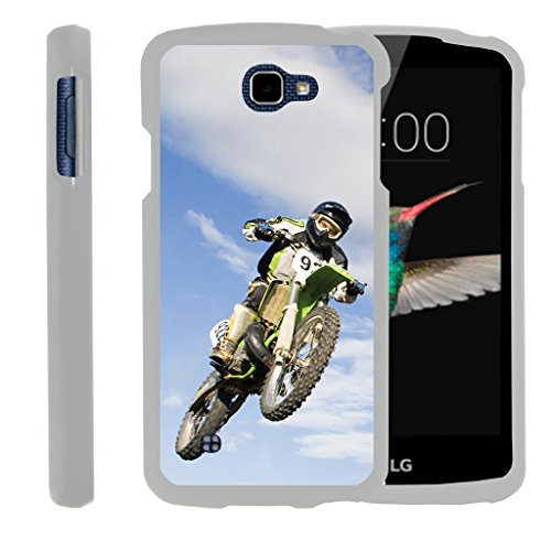 (LG K4 Case | LG Optimus Zone 3 Case | LG Spree | LG Rebel [Slim Duo] Compact Fit Hard Snap On Case Slim Cover on White Sports and Games by TurtleArmor - Motocross Bike)