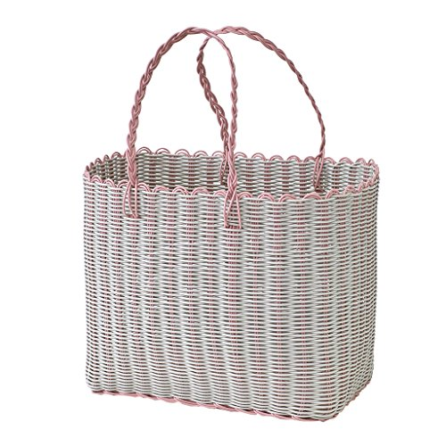 Time Concept Chore PE Straw Wide Picnic Basket - Pink - Wicker Grocery Bag, Multipurpose Tote