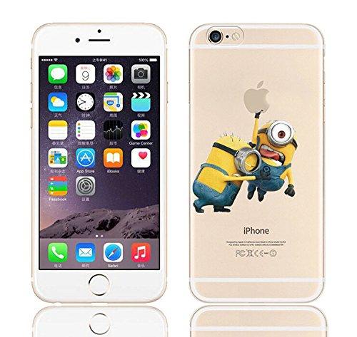 iCHOOSE iPhone 5S Caso / Minions Dibujos Animados Cubierta de Gel para Apple iPhone 5s 5 / Protector de Pantalla y Paño / Cuelgue Bien Agarrar