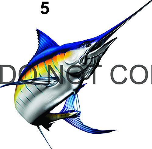 """Stripped Marlin Beautiful Fish Decal for Your Boat, Vehicle, Etc. Many Sizes and Styles Available 12"""" to 40"""" (X-Large, Position 5)"""