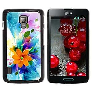 Qstar Arte & diseño plástico duro Fundas Cover Cubre Hard Case Cover para LG Optimus L7 II P710 / L7X P714 ( Flowers Spring Colorful Blossom Bouquet)