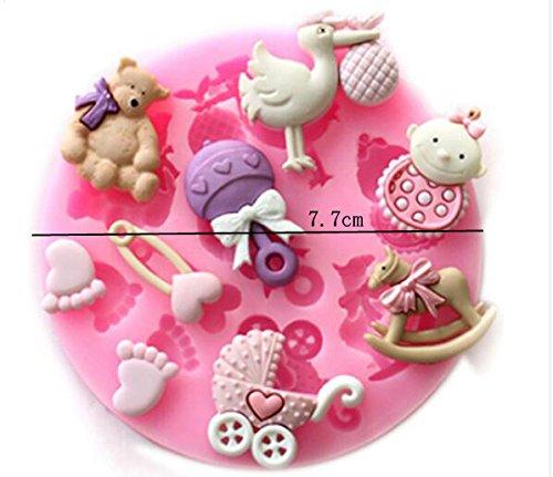 Baby Shower Theme Cake Decorating Mold,Chocolate Mold Baking Tool Set of 3 Mity Rain Baby Cake Fondant Mold,3D Silicone Baby Feet,Sleeping Baby