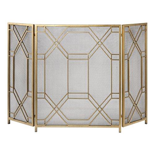 Mid Century Modern Geometric Fretwork Fireplace Screen | Firescreen Gold Retro