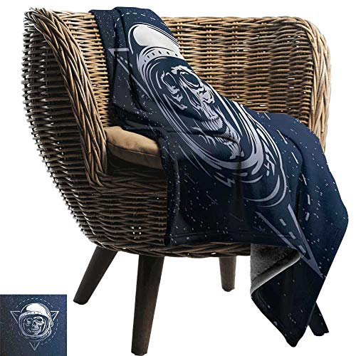 Flannel Blanket Outer Space Dead Skull Head Icon Cosmonaut Costume Astronomy Terrestrial Horror Scare Image Bedding Throw, or Blanket Sheet 60