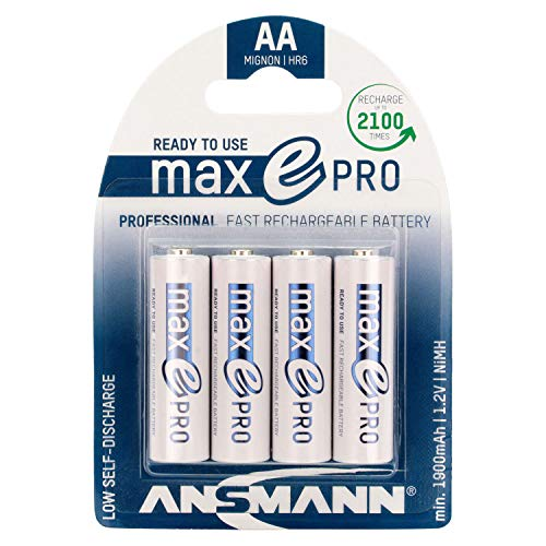 ANSMANN Rechargeable Batteries AA 2000 mAh NiMH - Low self-Discharge Double A Batteries pre-Charged for Camera, Flashlight, Controller, Gamepad, Solar Light, Apple Mouse, Wireless Keyboard - 4 Pack