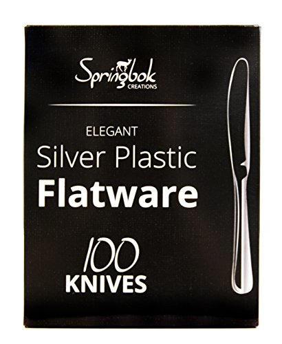 Springbok Home Silver Look Plastic Cutlery Knives (100 Count) by Springbok Home