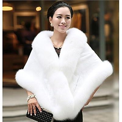 Caracilia Women's Faux Fur Coat Wedding Cape Shawl For Evening Party White at Women's Coats Shop