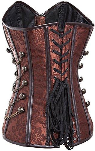 Frozen Costumes Dubai (Garyline Retro Steampunk Overbust Corset Steel Boned Waist Cincher Bustier Body Shaper BrownXXXXX-Large)