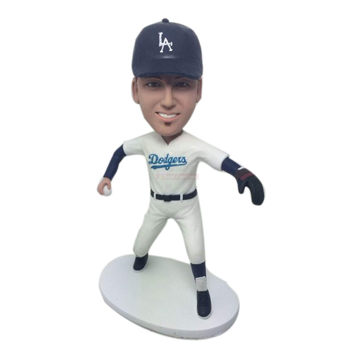 LA Dodgers Fan Custom Bobble Head Personalized Clay Figurines Based on Customers Photo Fathers Day Gift Husband Boyfriend Son Bday Gift