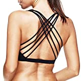 Mutreso Womens Sports Bra Sexy Strappy Cross Back Padded Wirefree Running Yoga Bra Tops Medium Support