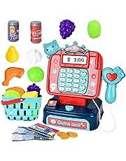 JoyGrow 21pcs Cash Register Toy for Kids, Pretend Play Shopping Super Marker Kids Calculator Cash Register with Scanner Accessories