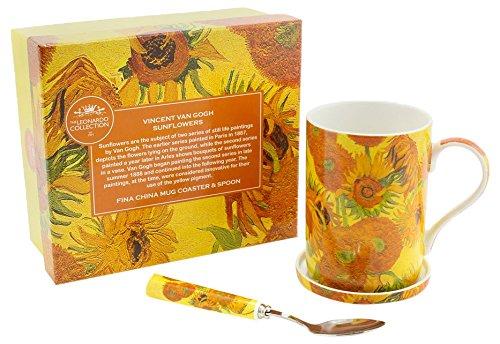 Lesser & Pavey VINCENT Van Gogh girasole tazza, sottobicchiere e cucchiaio, giallo/arancione LP92768A