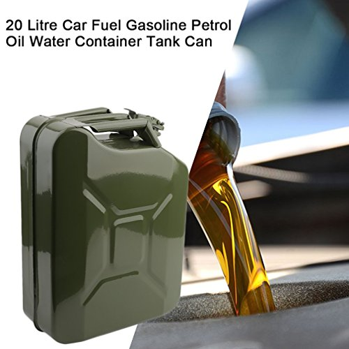 Olymstore NATO Style Metal Jerry Can 20 Liter Steel Gas Fuel Tank with Nozzle Spout /& Petrol Tight 5 Gallon