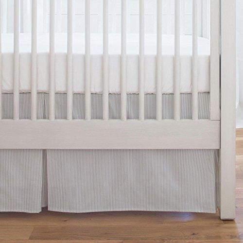 Carousel Designs Silver Gray Mini Stripe Crib Skirt Single-Pleat 17-Inch Length - Organic 100% Cotton Crib Skirt - Made in the USA by Carousel Designs