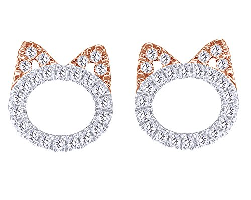 Natural Diamond Cat Kitty Stud Earrings In 14K Rose Gold Over Sterling Silver Sterling Silver (1/5 Cttw) (Diamond Kitty Cat)