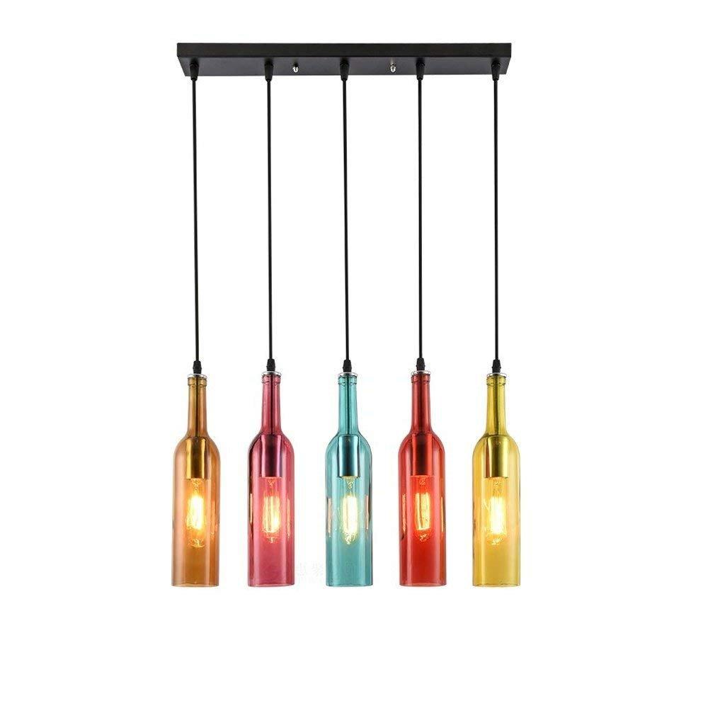 MYLMZ-LIGHTING Vintage Industrial Wind Light Colored Pendant Lamp Glass Wine Bottle Creative Retro Chandelier for Restaurant Kitchen Island Bar Dining Room Bar E27